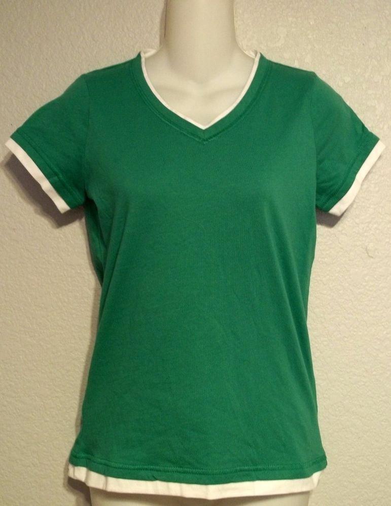 NEW Small 4 6  SJB Active Kelly Green V Neck Faux Layered Cap Sleeve T-shirt