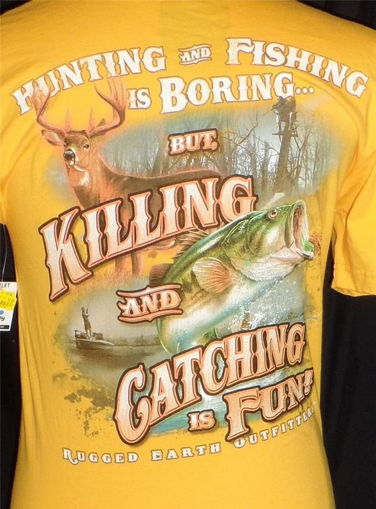 NEW Rugged Earth Outfitter Men's Small Gold Hunting Fishing Graphic SS T-Shirt