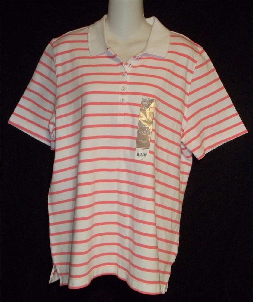 NEW White Stag  20 XXL 2X White Coral Pink Stripe SS Polo Golf Shirt Knit Top
