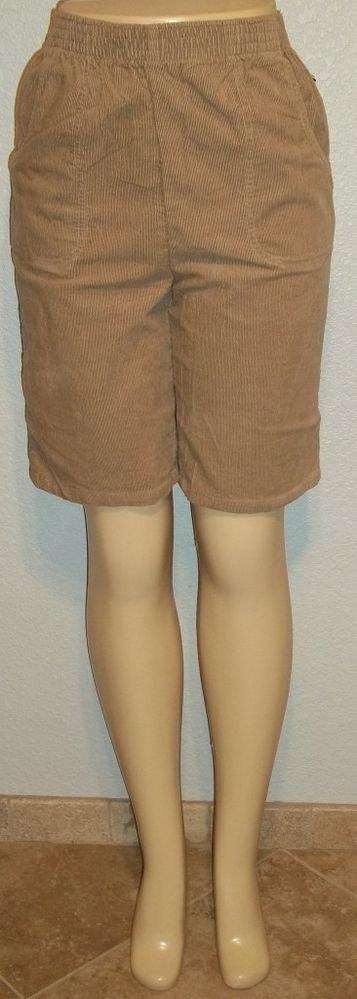 New Cascade Blues 8 Medium Short Taupe Tan Corduroy Elastic Knee Length Shorts