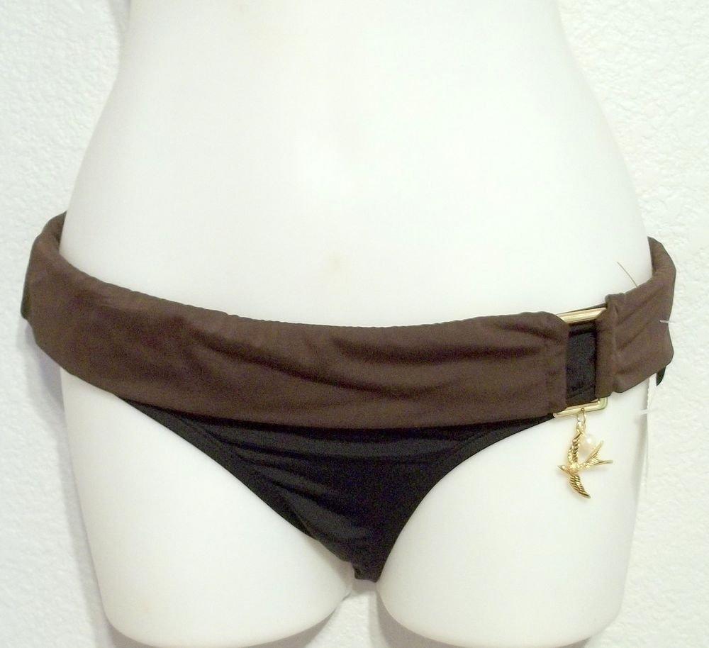 New MB Bikini Bottom Small 4 6 Black Brown Trim Gold Bird Pearl Accent Lined