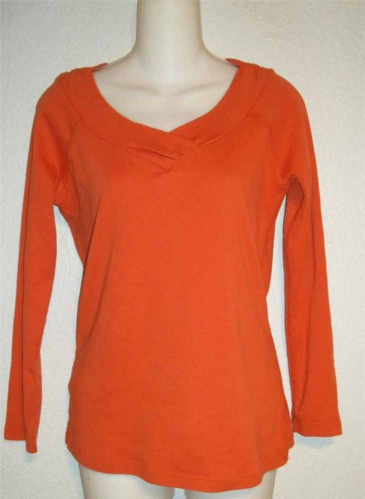 S Small 2 A Tee Bright Orange Ruched V Neck Long Sleeve Blouse Stretch Top 4 6