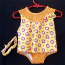 NEW 6 9 Months Mon Petit One Piece Yellow Orange Polka Dot Outfit with Headband