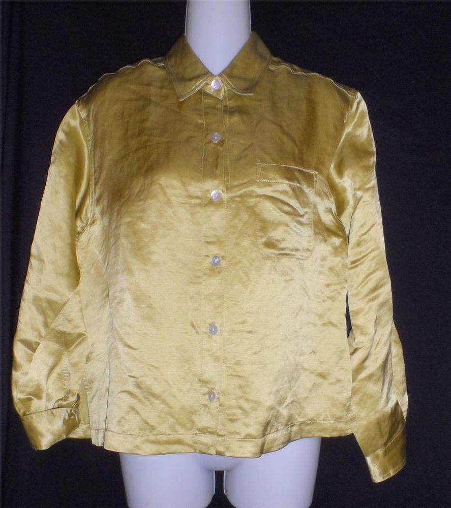 Chico's Design Size 0 Puce Gold Shiny Linen Silk Long Sleeve Blouse Jacket