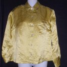 Chico's Design Size 0 Puce Gold Shiny Linen Silk Long Sleeve Blouse Jacket