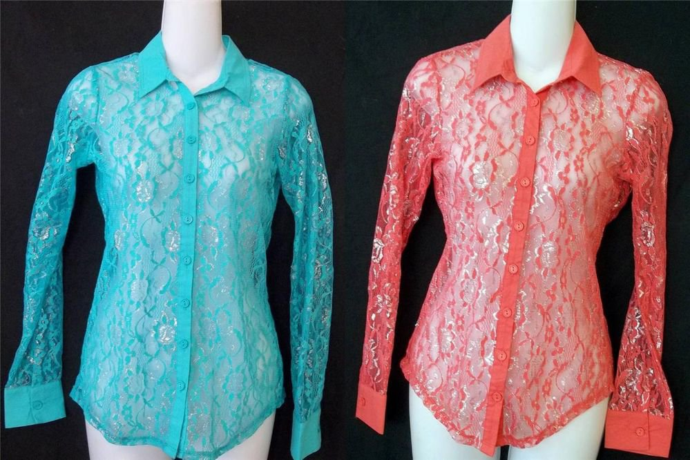 NEW Boho Junior Medium 7 9 Teal or Red Lace Silver Metallic Long Sleeve Blouse
