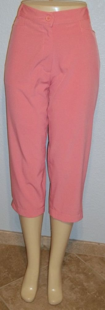 NEW Line Up 14 L Large Pink Coral Salmon Silky Cropped Capri Golf Pants