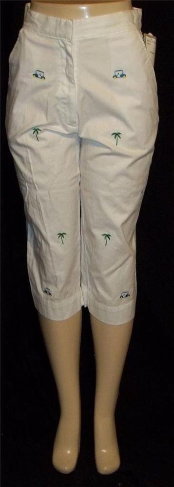 New AW Golf 8 Medium White Cropped Embellished Capris Cropped Pants