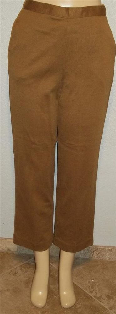 NEW Alfred Dunner 8 Medium Short  Bronze Tobacco Brown Stretchy Career Pants