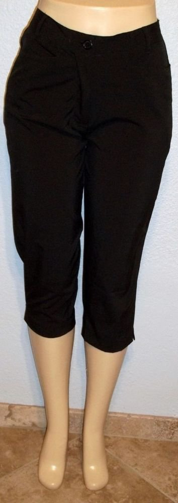 NEW Line Up Petite  P8 PM  Black Silky Golf Cropped Pants Petite Medium