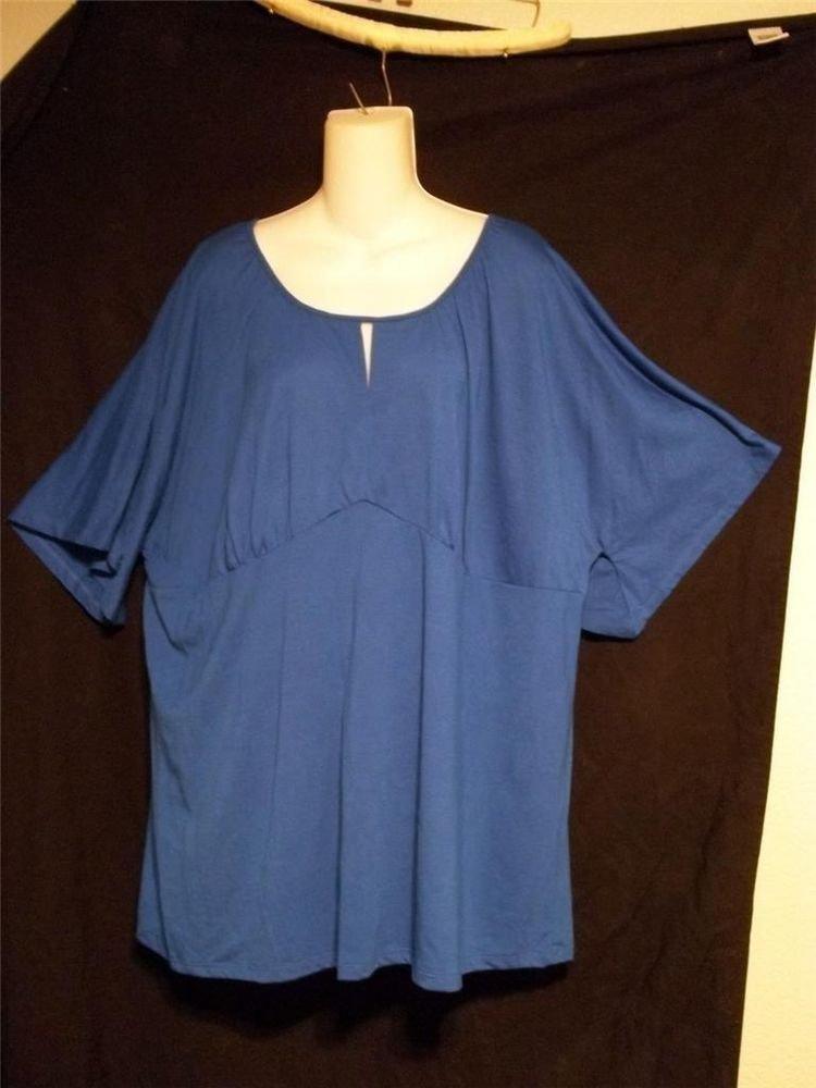NEW Just My Size JMS 4X 26W 28W Royal Blue Keyhole Short Sleeve Empire Blouse