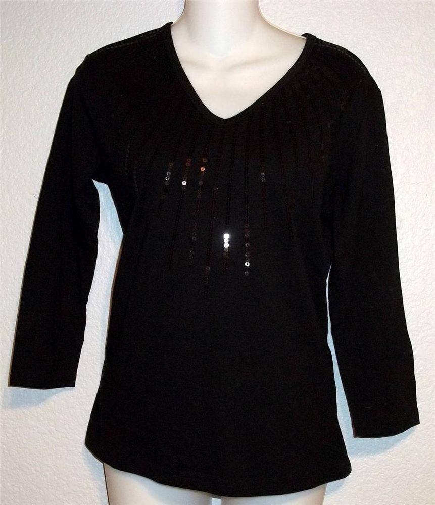 NEW Tantrums Small 4 6 Black Sequined V Neck Pullover Cotton Dressy Career Top