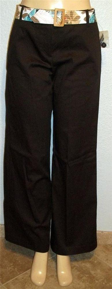 NEW Larry Levine 8 Medium Casual Career Brown Cotton Blend Pants Flower Belt