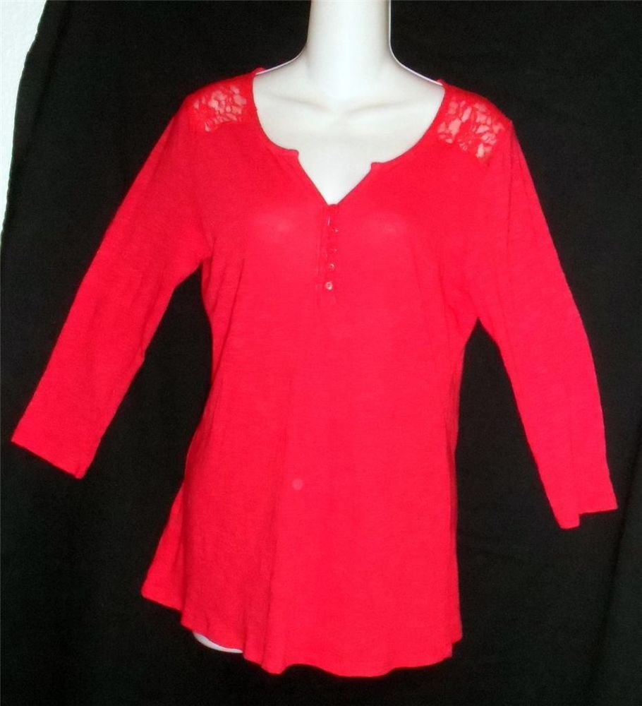 89th & Madison Red Lace 3/4 Sleeve Top M Medium 8 10 L  Large 12 14