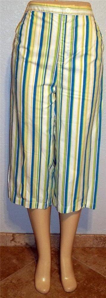 NEW K. T. Sport Keneth Too Medium 8 10 Large 12 14 Pink Aqua Cropped Capri Pants