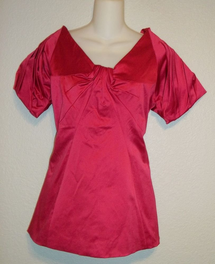 NEW Dollz brand Small 4 6  Fuscia Satiny Dressy Short Sleeve Tunic Blouse Top