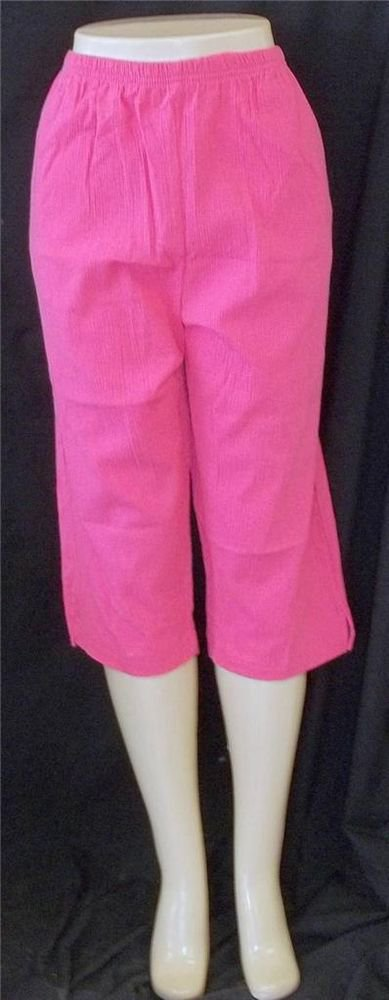 NEW Keneth Too! Large 12 14 Hot Pink Elastic Waist Cropped Crinkled Golf Pants