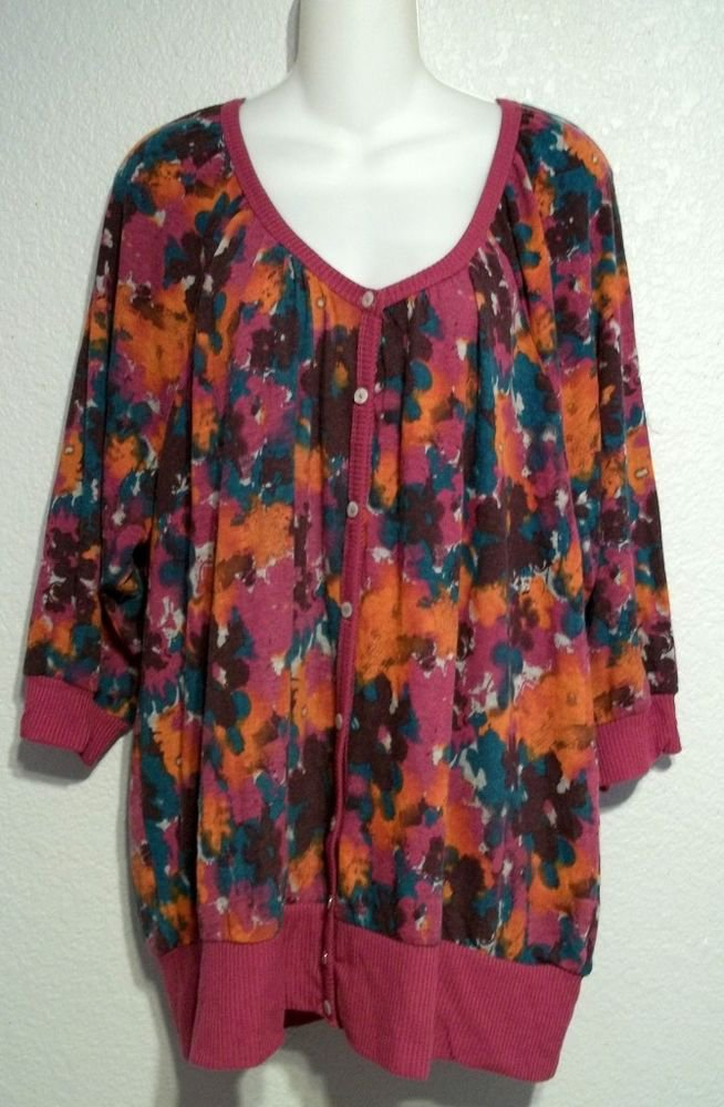 New French Laundry Woman 18 20 2X Fuchsia Teal Violet Floral Tunic Blouse Top