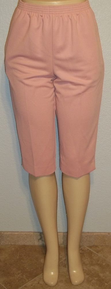 NEW Alfred Dunner 8P PM Mauve Pink Cropped Capri Casual Golf Elastic Pants