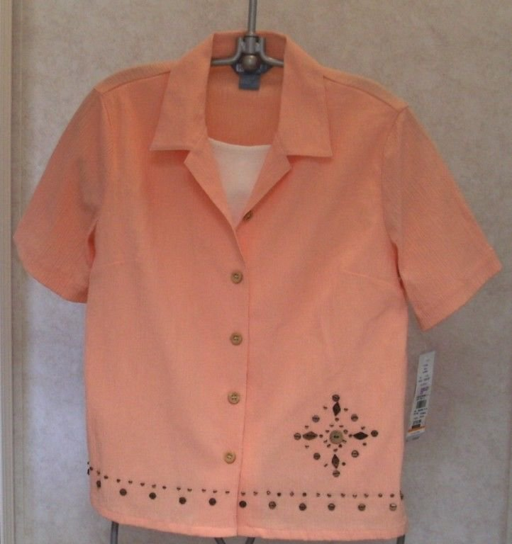 NEW Koret Petite PM  8P 10P Embellished Peach Faux White Cami Blouse