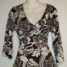 NEW Cocomo Petite PM 8P 10P Black White Floral Empire V Neck Career Blouse Top