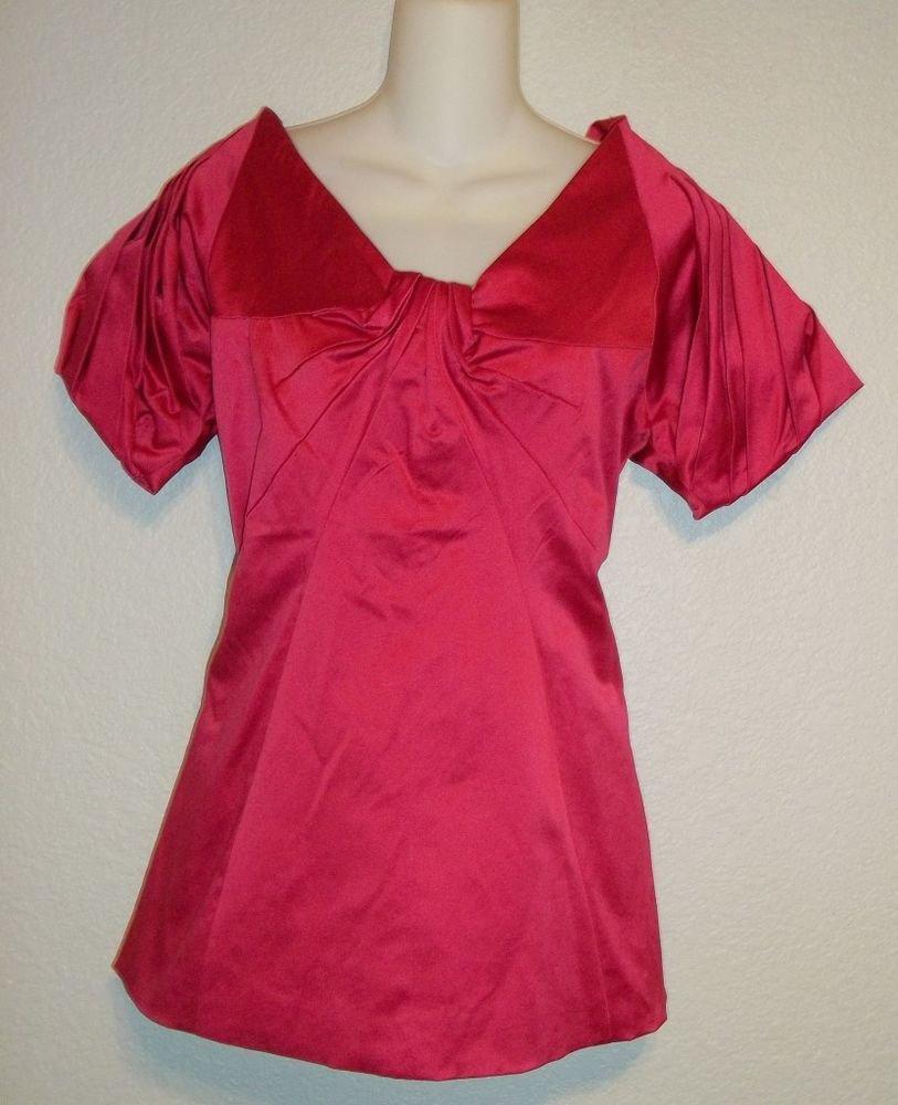 NEW Dollz brand Large 12 14  Fuscia Short Sleeve Satiny Dressy Blouse Top Tunic