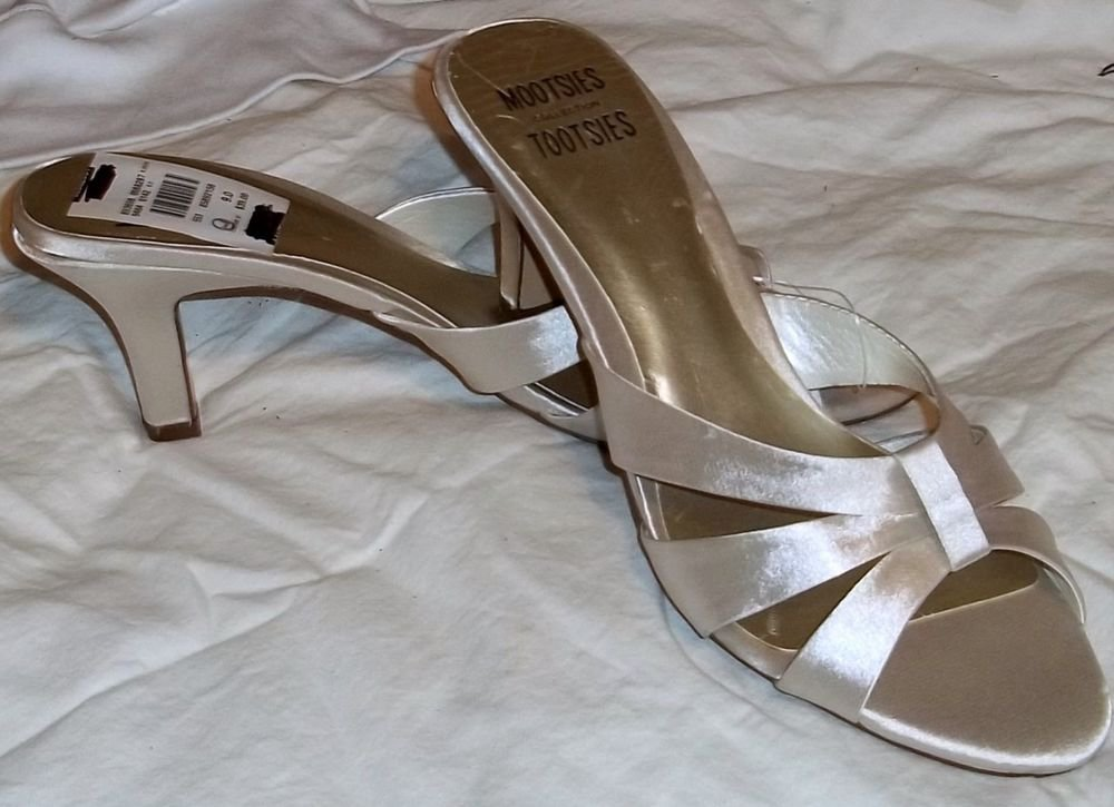 "NEW Mootsies Tootsies 9 M B Leather Beige Silver Satin Slide-in 3"" Heels Shoes"