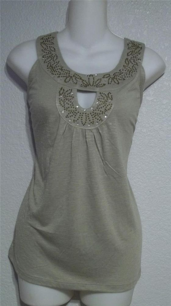 NEW French Laundry Petite Small 4P 6P Olive Green Scoopneck Studded Tank Top