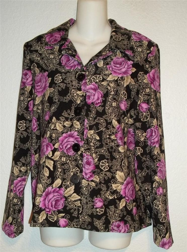 New Lifestyle Classics Medium 8 10 Purple Black Flowered Blouse Jacket