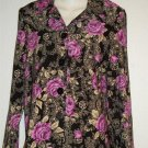 New Lifestyle Classics Medium 8 10 Purple Black Flowered Blouse Jacket