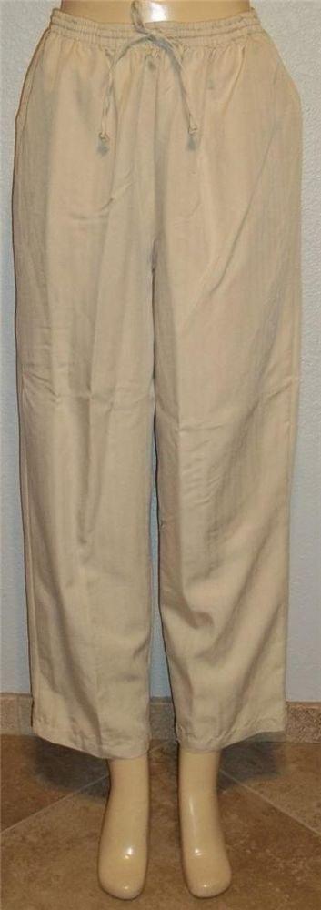 NEW Keneth Too!  Large 12 14 Short Beige Tan Draw String Career Pants Slacks
