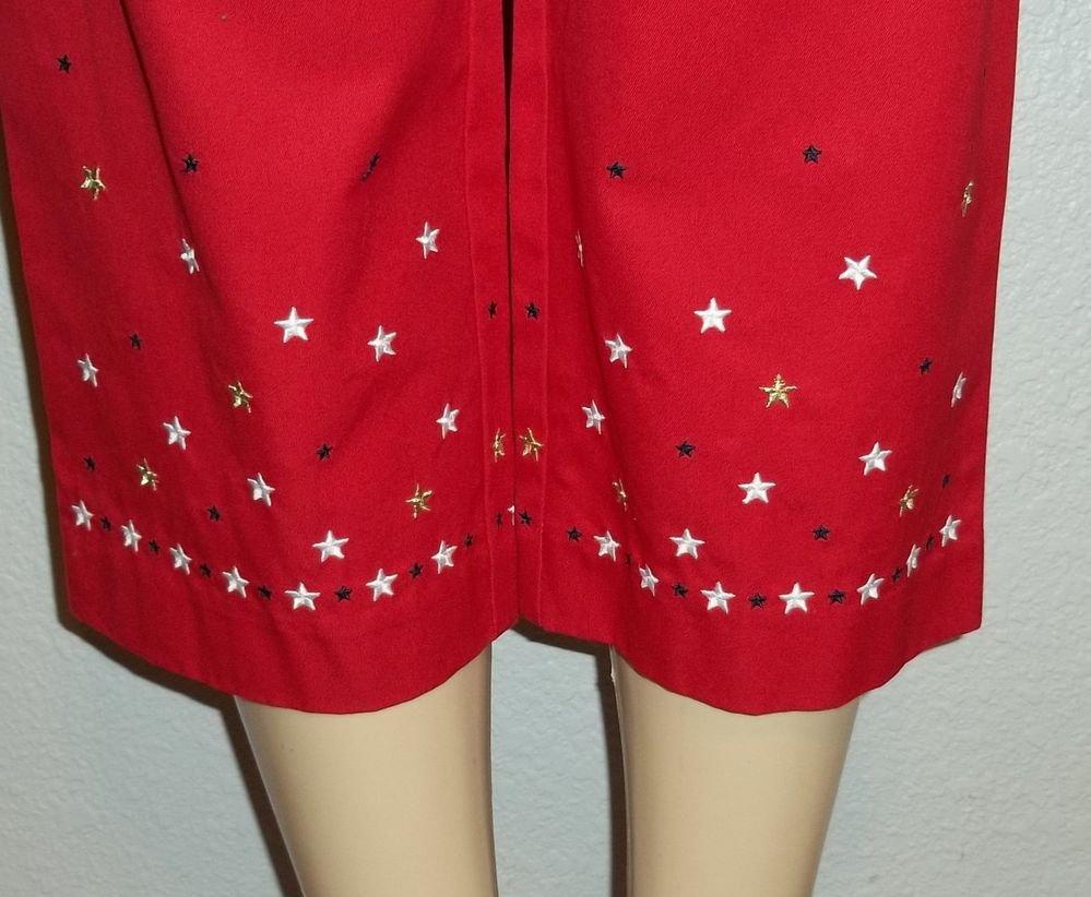 NEW Casual Corner Annex Petite P8 PM True Red Stars Casual Cropped Pant