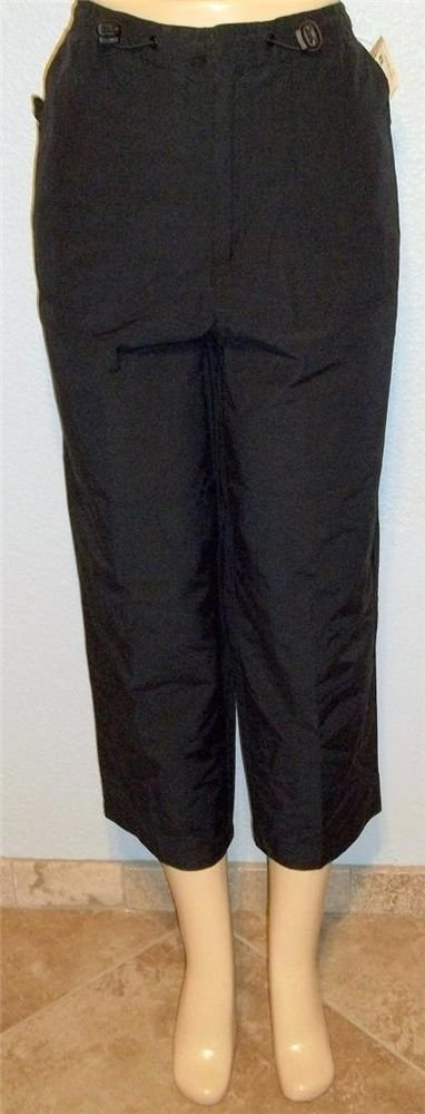 NEW St. John's Bay 8 Medium Black Elastic Drawstring Cropped Casual Pants