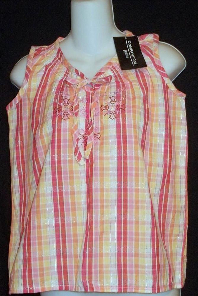 New Company One Petite Small Pastel Pink Plaid Sleeveless Top Stitching PS P4 P6