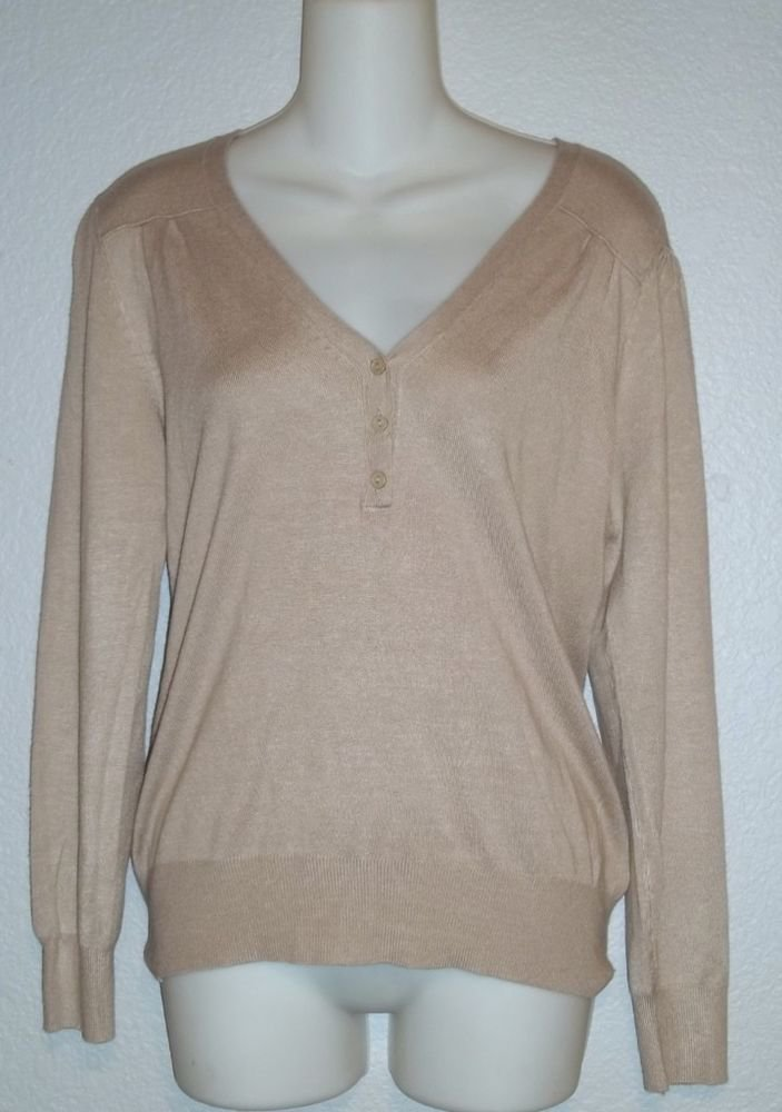 NEW Dollz Medium 8 10 Tan Taupe  Lightweight Pullover Polo Style LS Sweater