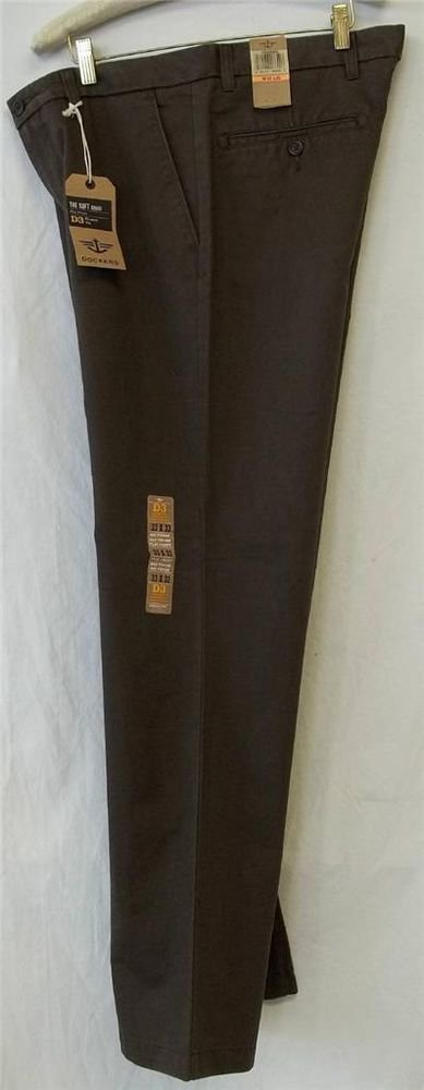 NEW Dockers D3 Brown 33W x 32W 34W x 32W Classic Fit Soft Khaki Flat  Pants