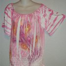 NEW Simply Irresistible Petite Medium PM 8P 10P Pink Peacock Peasant Blouse Top
