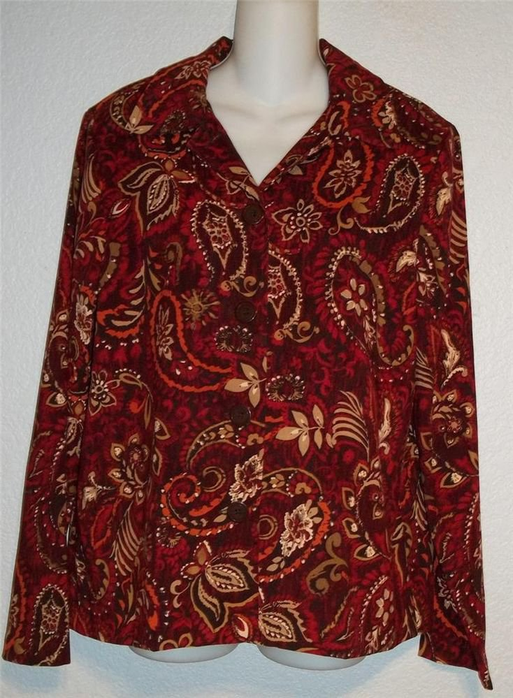 NEW Medium 8 10 Lifestyle Classics Burgundy Paisley Jacket Blouse