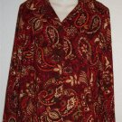 NEW Medium 8 10 Lifestyle Classics Burgundy Paisley Jacket Blouse