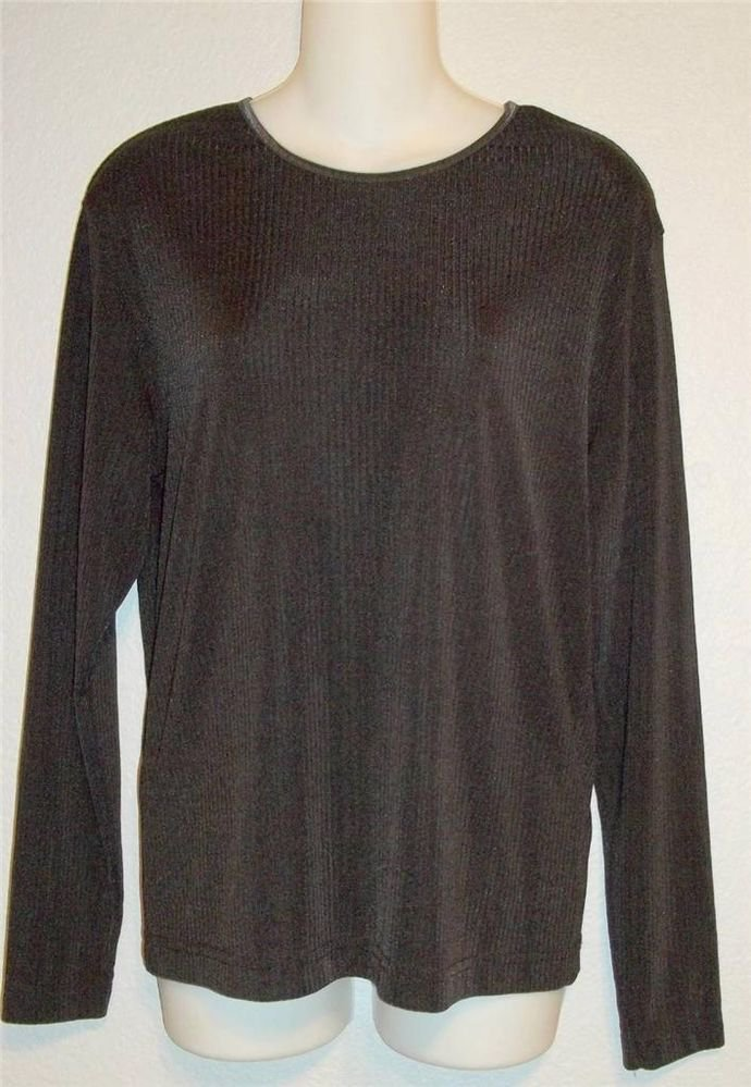 Jaclyn Smith Large 12 14 Black Long Sleeve Stretchy Career Pullover Top