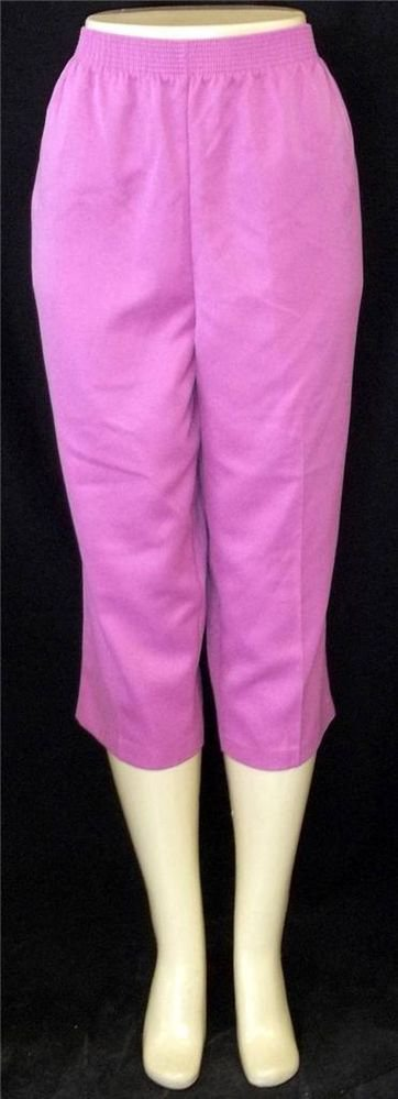 NEW Alia Large 12 Magenta Pink Elastic Waist Cropped Capris Golf Walking Pants
