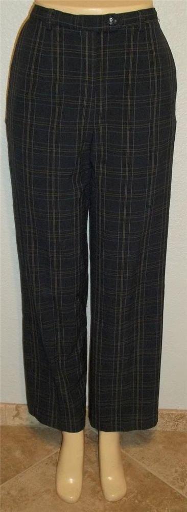 Sag Harbor 8 Medium Navy Blue Plaid Lined Classic Waist Career Dress Pants