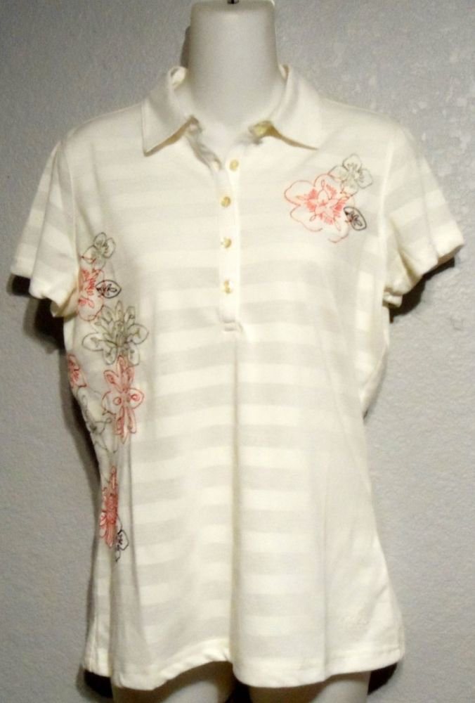 NEW Tehama Green Small 4 6 Embroidered White Short Sleeve Golf Shirt