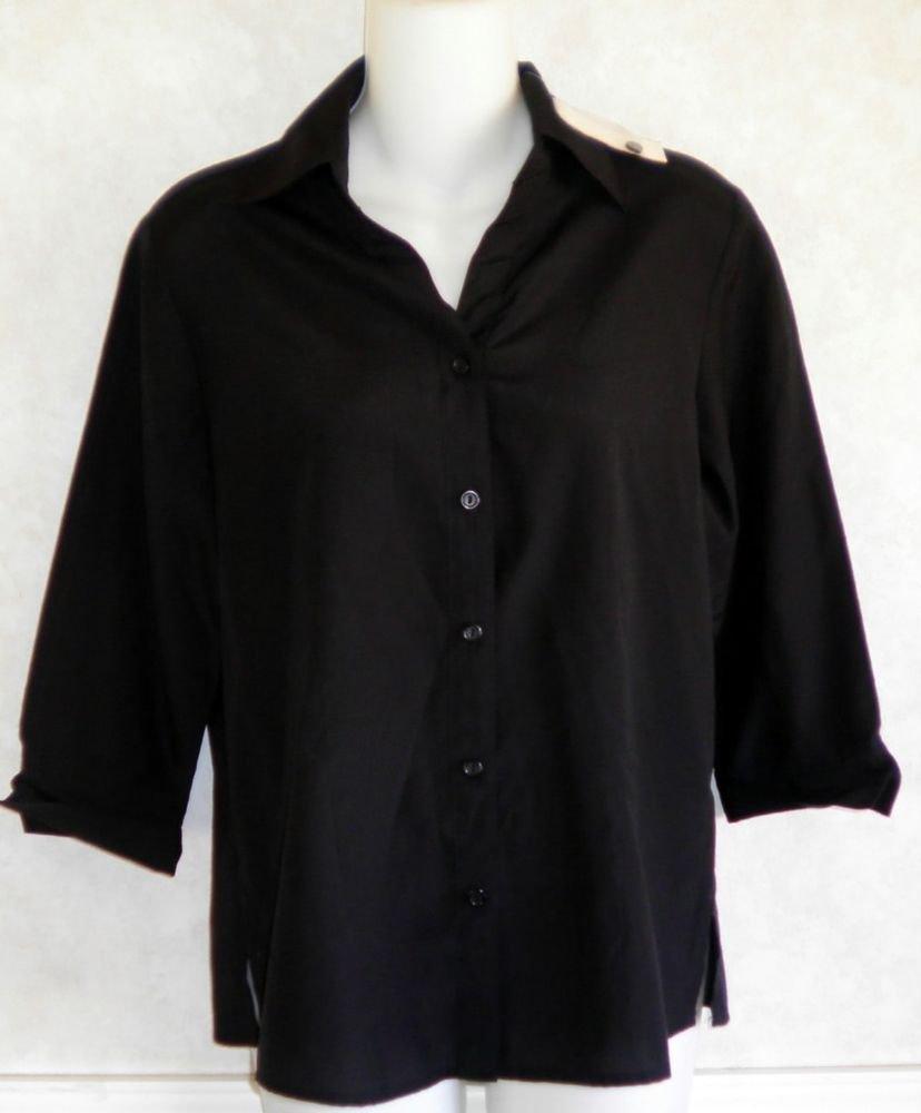 NEW Joanna Small 4 6  Rayon Blend Silky Career Black 3/4 Sleeve Blouse Shirt