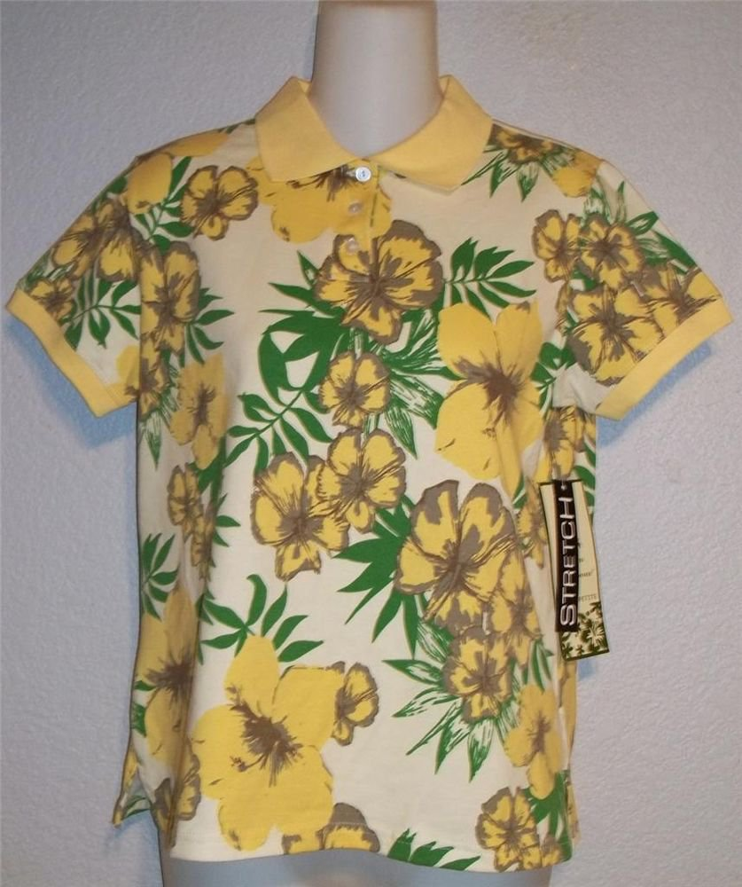 NEW Palm Harbour Petite PM 8P 10P Yellow Green Floral Print SS Polo Golf Shirt