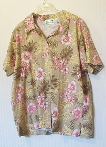 NEW Shenanigans XL 16 18 Kiwi Green & Coral Pink Floral Short Sleeve Blouse Top
