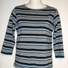 Rafaella Sport  Small 4 6 Navy Blue Beige White Striped 3/4 Sleeves Knit Top