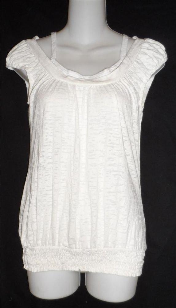 Rue 21 Junior Medium 7 9 White Cap Sleeve Faux T-Shirt Elastic Hem Long Top
