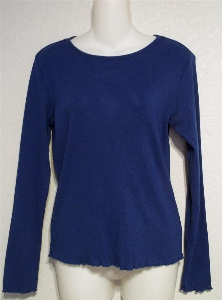 Crazy Horse Small 4 6 Royal Blue Long Sleeve Cotton Blend Blouse Top