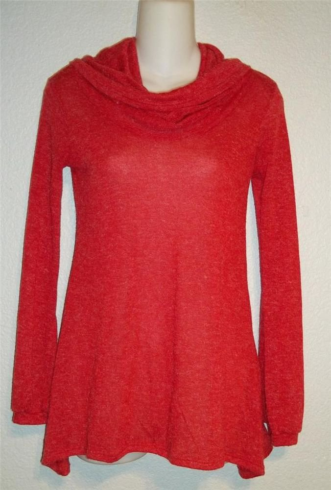 Rue 21 Small 4 6 True Red Cowl Neck Long Sleeve Lightweight Blouse Top Sweater